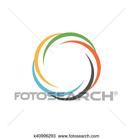 Isolated Abstract Colorful Circular Sun Logo Round Shape