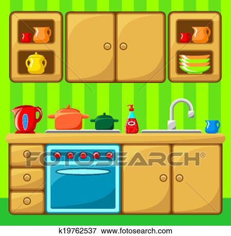 Clip Art Of Kitchen Interior K19762537 Search Clipart