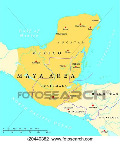 Clipart Of Maya High Culture Area Map K20440382 Search Clip Art