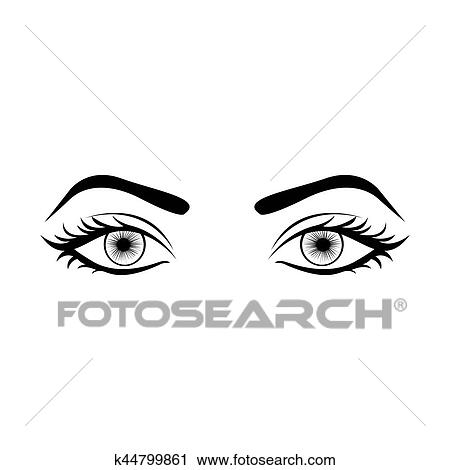 monochrome silhouette with female eyes open clipart k44799861 rh fotosearch com Moving Winking Eyes Clip Art Moving Winking Eyes Clip Art