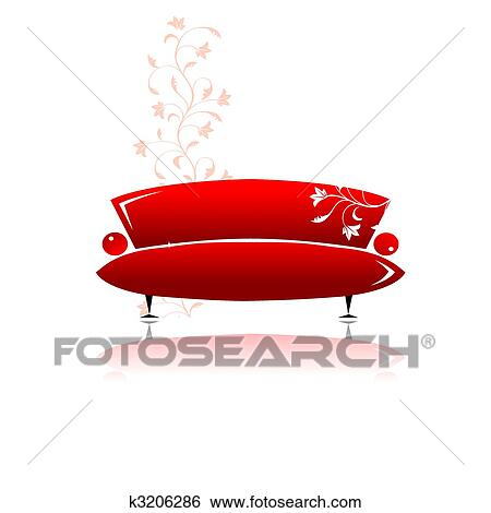 Clip Art Of Red Sofa Design K3206286 Search Clipart Illustration