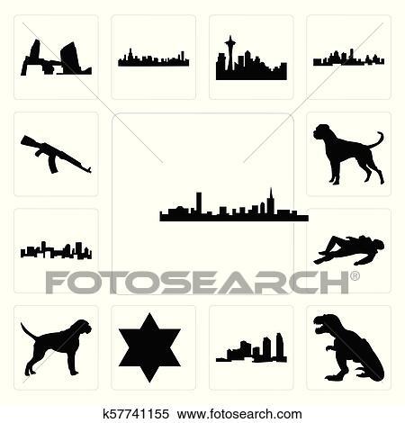 Set of boston skyline on white background,, t rex, long island, star david,  boxer dog, crime scene body, denver skyline, ak47 icons Clipart