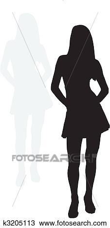 clipart of sexy girl with shadow k3205113 search clip art rh fotosearch com