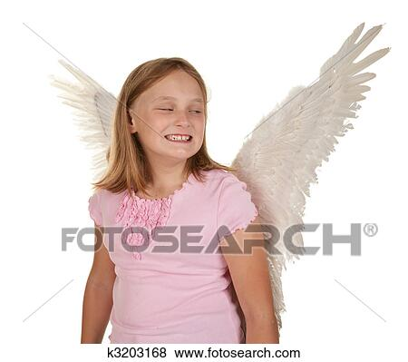 Sneaky Young Girl With Angel Wings Stock Photo