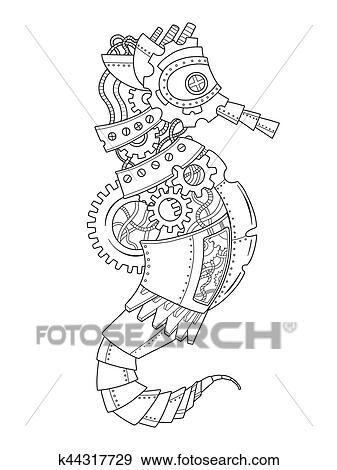 Steampunk style sea horse coloring book vector Clip Art | k44317729 ...