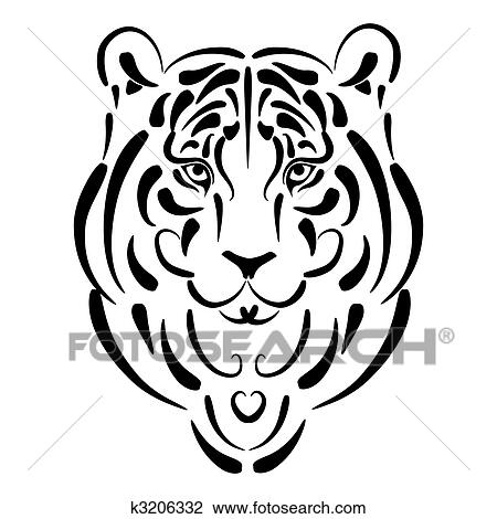 Clipart Of Tiger Stylized Silhouette Symbol 2010 Year K3206332