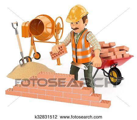 Clip Art Of 3D Construction Worker Building A Brick Wall K32831512