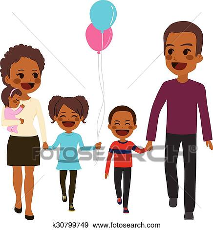 clip art of african american happy family walking k30799749 search rh fotosearch com cartoon african american family clipart african american christian family clipart