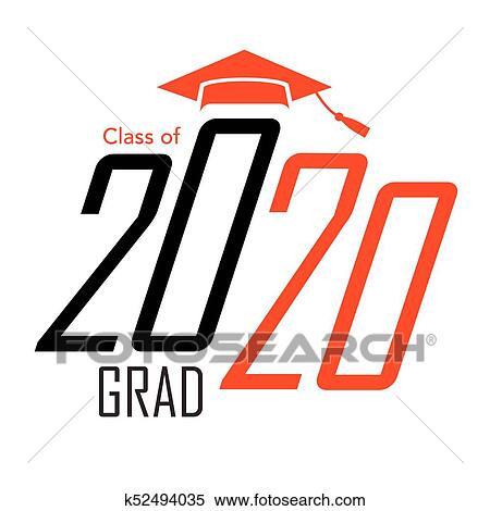 Graduation Clip Art 2020.Class Of 2020 Congratulations Graduate Typography With Cap