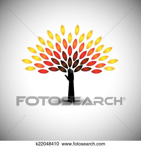 clipart of colorful tree of life hand eco lifestyle concept
