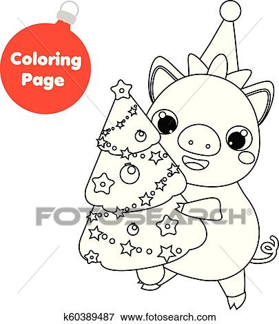 coloring page new year pig holding christmas spruce tree educational children game drawing kids printable activity clip art k60389487 fotosearch https www fotosearch com csp321 k60389487