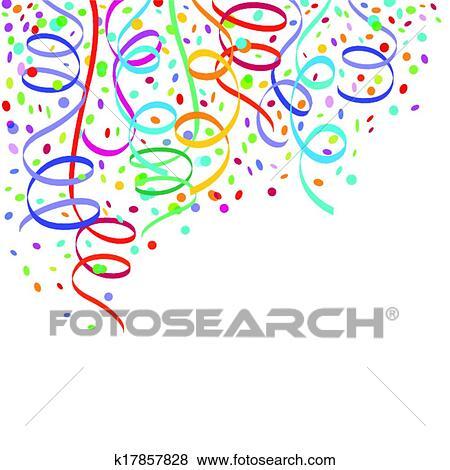Clip Art Of Confetti And Streamers K17857828 Search Clipart