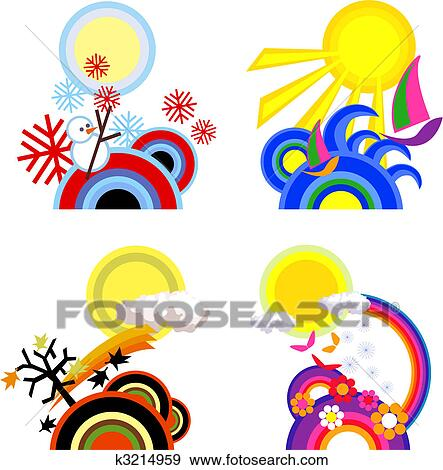 clip art of four seasons k3214959 search clipart illustration rh fotosearch com seasonal clip art seasonal clip art free images