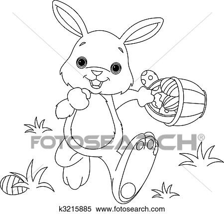 Clipart Of Easter Bunny Hiding Eggs Coloring Page K3215885