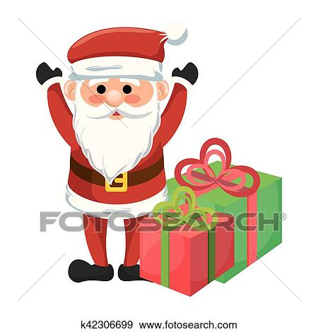 Clipart Père Noël Caractère Kawaii Style K42306699 Recherchez