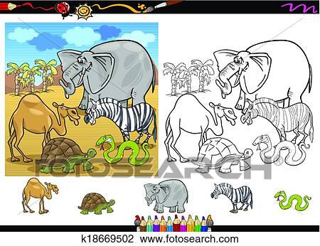 Safari Animals Coloring Page Set Clipart K18669502 Fotosearch