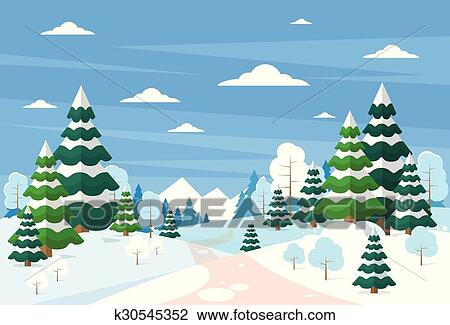 Christmas Background Clipart.Winter Forest Landscape Christmas Background Pine Snow Trees Woods Clipart