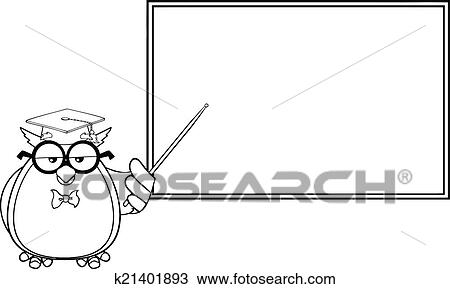 Black And White Wise Owl Teacher Cartoon Character In Front Of School Chalk Board Illustration Isolated On