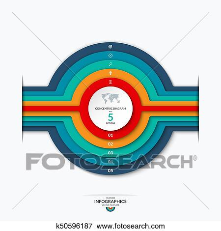 Clip Art Of Concentric Circles Diagram For Infographics Vector