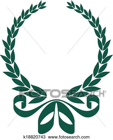 clipart of foliate laurel wreath with a decorative ribbon k18820743 rh fotosearch com laurel wreath clipart black and white laurel wreath clipart black and white