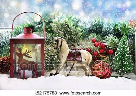 Decorazione Finestre Per Natale : Immagini natale finestra decorazione con argilla cavallo a