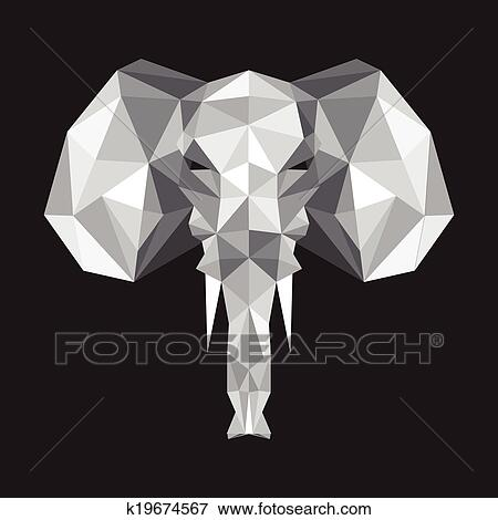 Clip Art Of Origami Elephant K19674567