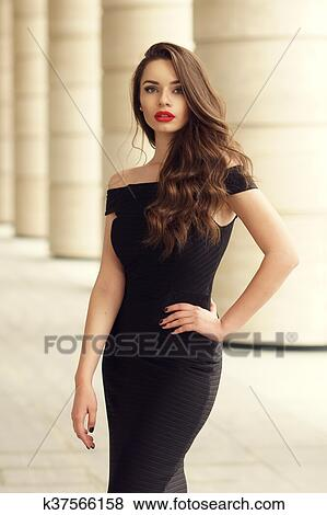 Pictures Of Pretty Beautiful Business Woman In Elegant Black Dress