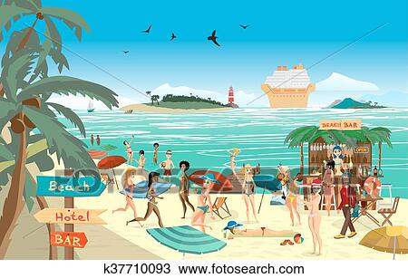 clipart of sea landscape summer beach vector cartoon flat