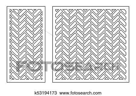 Clipart Set Geometric Ornament Template Card For Laser Cutting Decorative Design Element