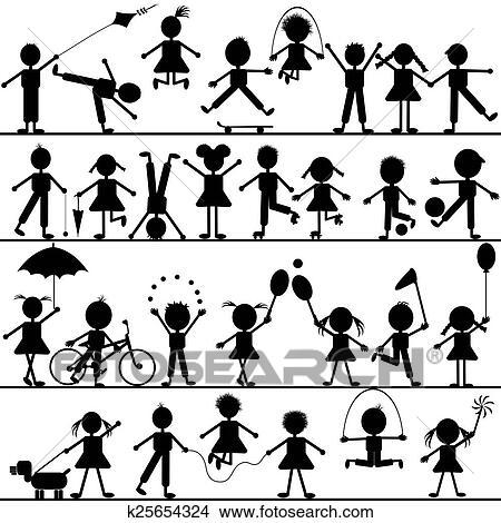 Disegni Stilizzato Mano Disegnato Bambini Giocando K25654324