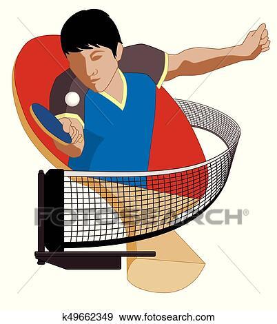 Table tennis player male hitting ball Clip Art | k49662349 ...