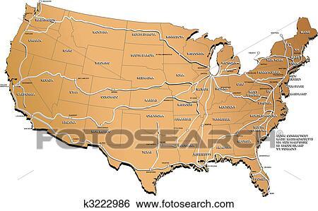 clipart - usa, spoorweg, kaart k3222986 - zoek clipart, illustratie