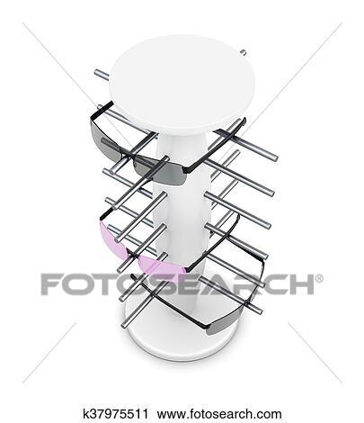 Clipart - vue dessus, étagère, pour, lunettes, isolé, blanc, arrière-plan.,  3d, rende cf55cb1f6e77