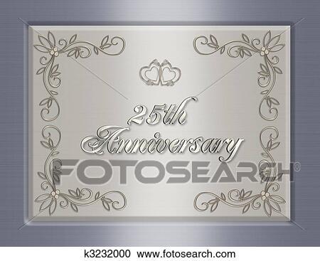 25th Wedding Anniversary Invitation Clipart K3232000