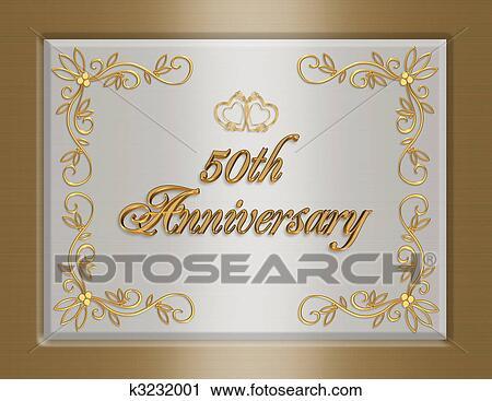 clipart of 50th golden wedding anniversary invitation k3232001