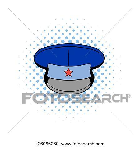 Blu Cappello Militare Con Stella Comics Icona Clipart