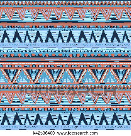 Ethnic Boho Seamless Pattern Tribal Art Aztec Print