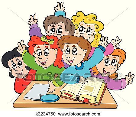 Clipart gruppo di bambini scuola k3234750 cerca for Scuola clipart