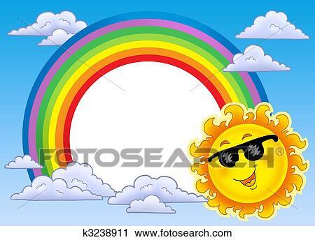Clipart arcobaleno cornice con sole in occhiali da - Arcobaleno da colorare stampabili ...