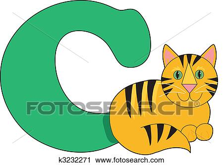 clipart of letter c with a cat k3232271 search clip art rh fotosearch com letter c clipart black and white letter c monogram clipart
