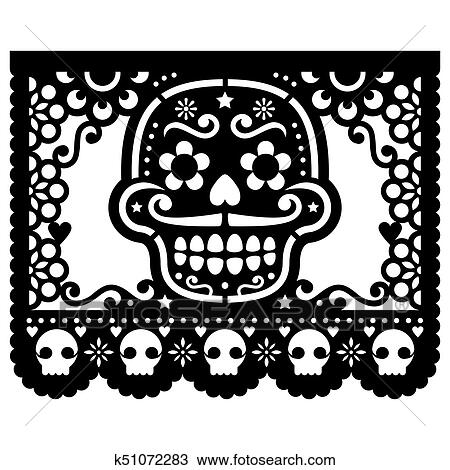 drawing of mexican sugar skull vector paper decorations papel