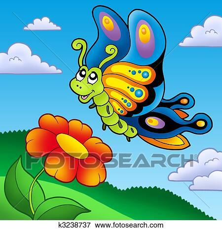 Banque D Illustrations Mignon Papillon à Fleur Rouge K3238737