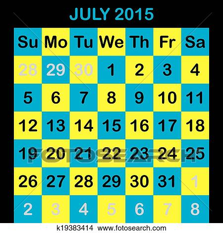 Clipart Of One Month Calendar 2015 July K19383414 Search Clip Art