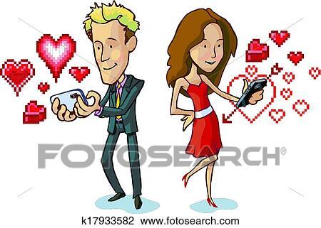 Texting Couple à Pixel Cœurs Clipart