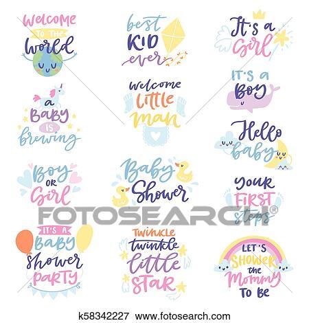 Baby Shower Sign Vector Boy Or Girl Newborn Kids Birth Party