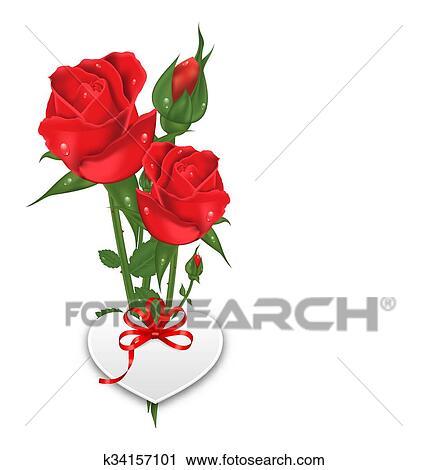 Clipart Bouquet Beau Fleurs Roses Heureux Saint Valentin