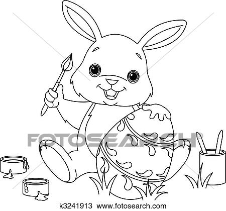 Bunny Painting Easter egg coloring page Clipart   k3241913 ...