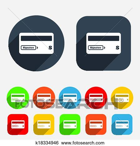 Clip Art Of Credit Card Sign Icon Debit Card Symbol K18334946