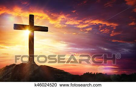 Crucifixion Of Jesus Christ Cross At Sunset Stock Image