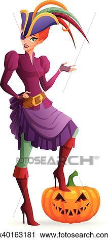 Halloween Pumpkin Cartoon Images.Redhead Woman In Purple Pirate Halloween Costume With Pumpkin Cartoon Style Vector Illustration Isolated On White Background Iskarpa